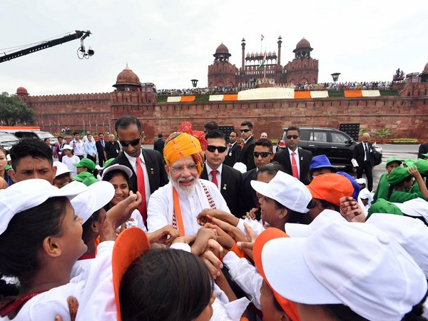 Prime Minister Narendra Modi meeting with children after his speech at Red Fort in New Delhi in 2019.