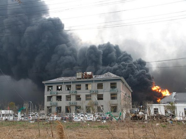 Smoke rises from the Chenjiagang Tianjiayi chemical plant in eastern China