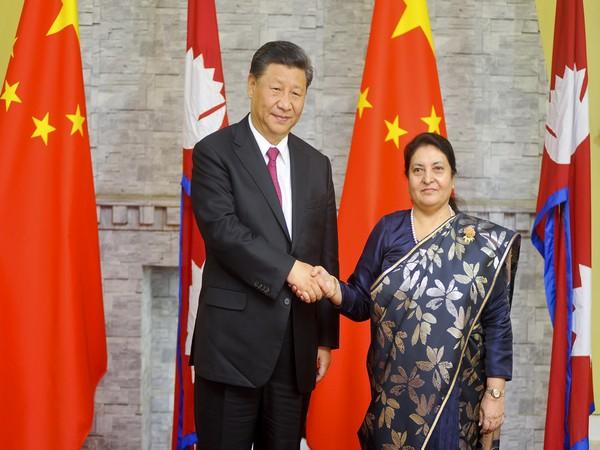 Chinese President Xi Jinping and Nepalese President Bidhya Devi Bhandari