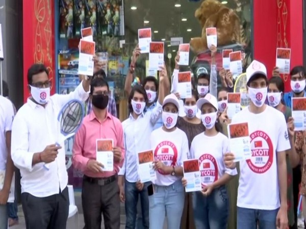 A group of manufacturers in Gujarat stage a protest against Chinese product on Friday.