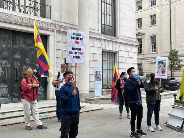Tibetan activist groups protest outside the Chinese Embassy in London on Tuesday