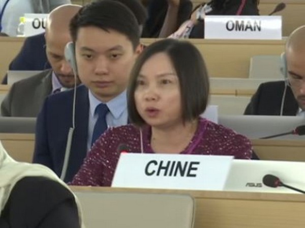 Chinese representative speaking at the 42nd UNHRC session in Geneva, Switzerland, on Tuesday. Photo/ANI