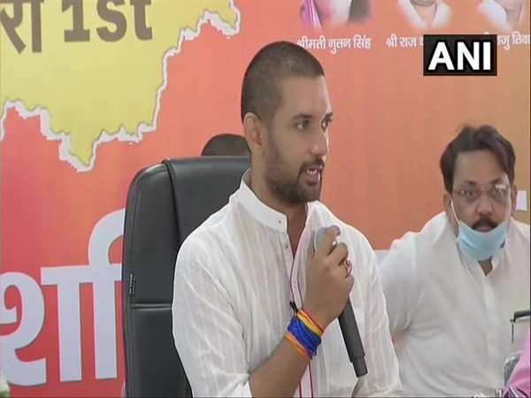 LJP chief Chirag Paswan addressing a press conference in Patna on Thursday. [Photo/ANI]