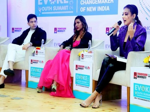 Pollywood actress Nikeet Dhillon, youth model and entreprenuer, Mia Lakra and national spokesperson of AAP, Raghav Chadha participating in panel discussion during National Youth Summit.