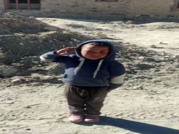 Namgyal, a local kid in Chushul, Ladakh saluting the ITBP troops.