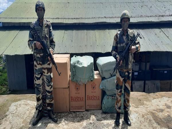Assam Rifles seizes foreign-origin cigarettes in Mizoram. (Image courtesy: Twitter/@official_dgar)