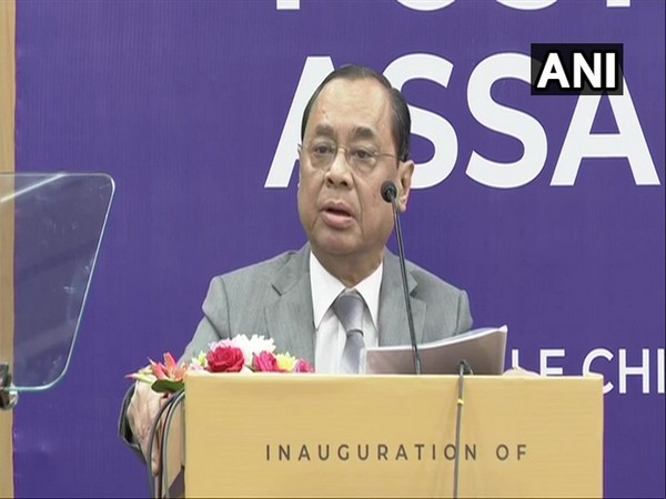 CJI Ranjan Gogoi speaking at a book launch event in New Delhi on Sunday. Photo/ANI