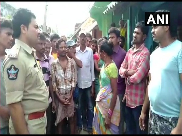 Police at the spot where woman died during clash over filing up water in Andhra Pradesh.