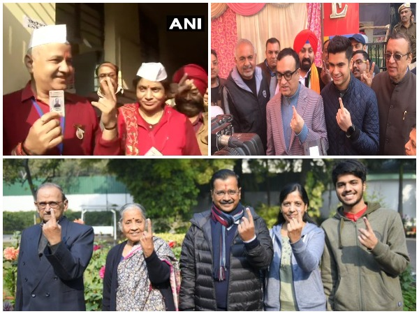 Manish Sisodia, Ajay Maken and Arvind Kejriwal cast their votes in Delhi today.