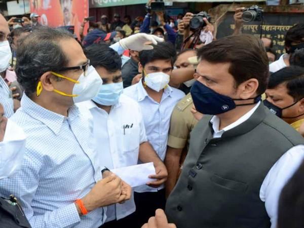 Visuals from CM Uddhav Thackeray and Devendera Fadnavis meeting in Kolhapur
