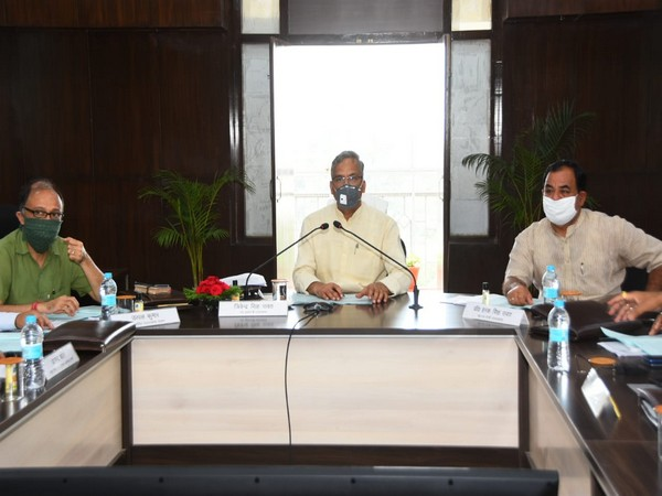 Uttarakhand Chief Minister Trivendra Singh Rawat with officials during meeting on Monday.