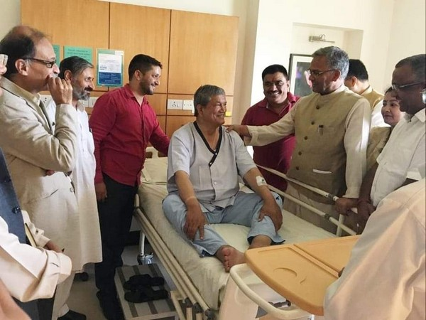 Chief Minister Trivendra Singh Rawat on Monday met former chief minister Harish Rawat who is admitted at Max hospital in Dehradun.