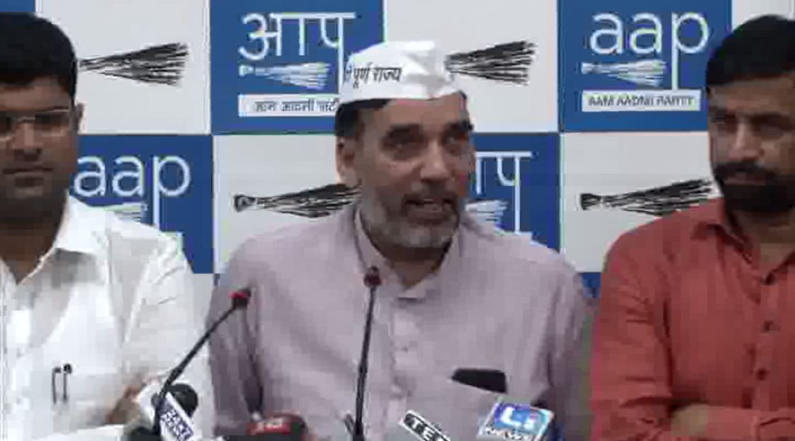 AAP leader Gopal Rai addressing a joint press conference with JJP leader, in Delhi on Sunday (Photo/ANI)
