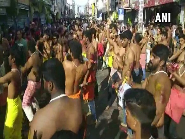 Visuals from the procession in Coimbatore in Tamil Nadu on Tuesday. Photo/ANI