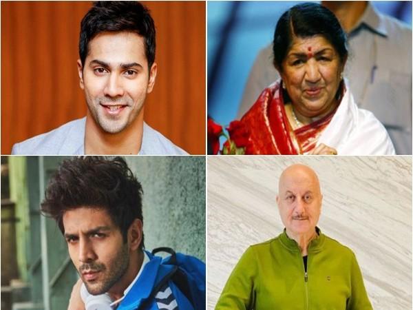 Varun Dhawan, Lata Mangeshkar, Kartik Aaryan and Anupam Kher (Image Source: Instagram)