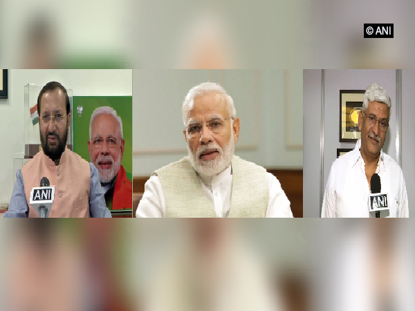 Prakash Javadekar (left), Narendra Modi (middle) and Gajendra Singh Shekhawat (right)