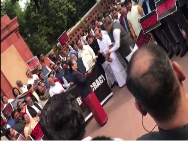 Visuals from Opposition protest outside Parliament on Tuesday.