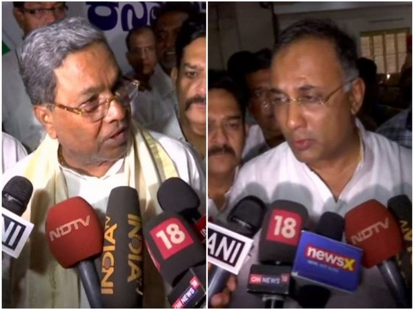 Congress leaders Siddaramaiah and Dinesh Gundu Rao speaking to media persons in Bengaluru on Saturday. Photo/ANI