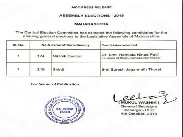 Candidates list release by Congress on Friday for Maharashtra Assembly polls.
