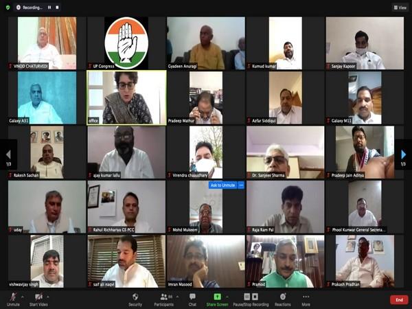 Priyanka Gandhi conducting virtual meeting with UP Congress leaders on Wednesday. (Photo/ANI)