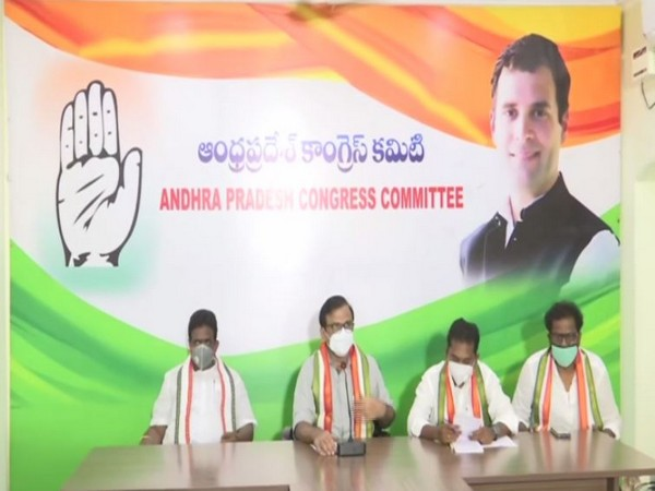 A visual of the Andhra Pradesh Congress Committee press conference held on Monday. (Photo/ANI)