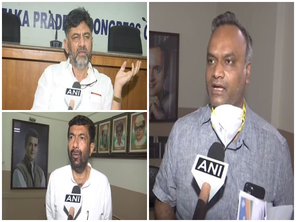 Karnataka Congress President DK Shivakumar (Top Left), KPCC working president Saleem Ahmed (Down Left) and Congress MLA Priyank Kharge. (Photo/ANI)