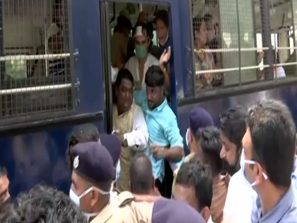 The police have detained the large number of protestors. (Photo: ANI)