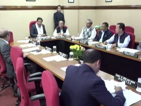 Meghalaya Chief Minister Conrad Sangma with his cabinet on Friday. Photo/ANI