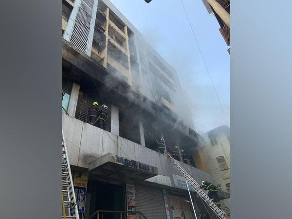 Cooling operation underway at Aaditya Arcade building at Charni road , Mumbai