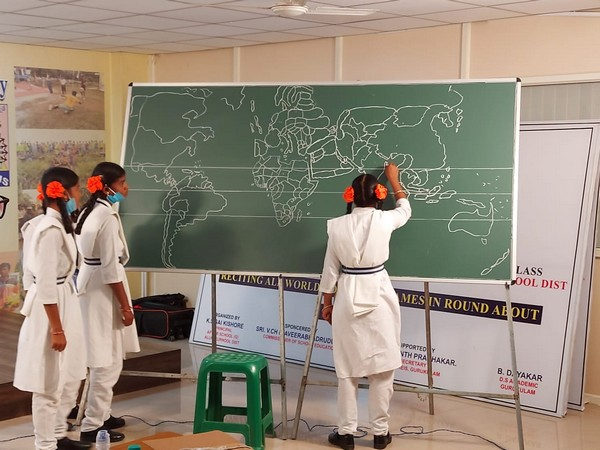 The girl students of 9th class in  Andhra Pradesh have set an record by drawing 205 countries in the world map within 1 minute 15 seconds.