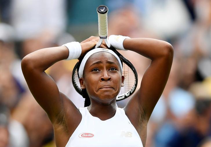 Cori Gauff celebrates winning her first round match against Venus Williams on Monday.
