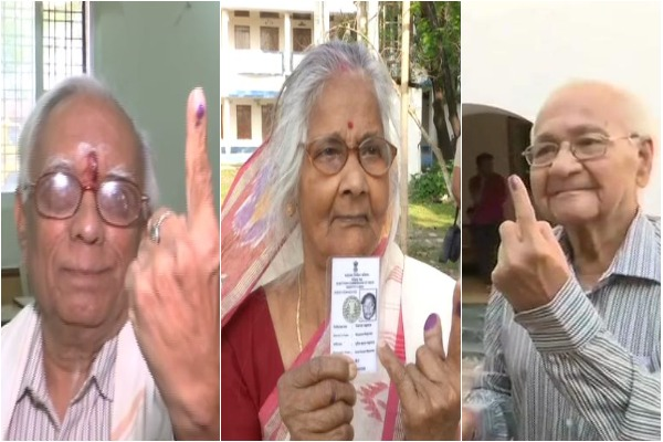 Senior citizens at polling booths from various parts of the country
