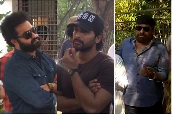 Actors Jr NTR, Allu Arjun and Chiranjeevi