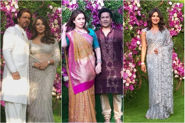 Shah Rukh Khan with Gauri Khan, Sachin Tendulkar with Anjali Tendulkar, Priyanka Chopra