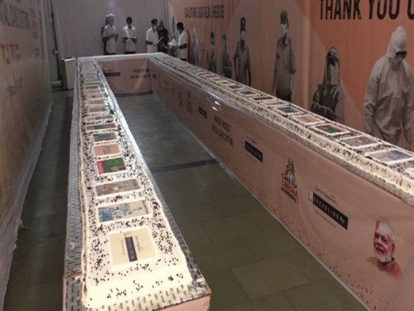 Breadliner, made a 71-feet long cake weighing 771 kg, with the theme of 'corona warriors' to mark Prime Minister Narendra Modi's 70th birthday. (Photo/ANI)