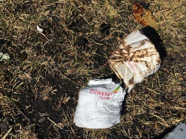Cabin serviettes seen at the site of Ethiopian Airlines Flight ET 302 plane crash, near the town of Bishoftu, south-east of Addis Ababa, Ethiopia, on Sunday.