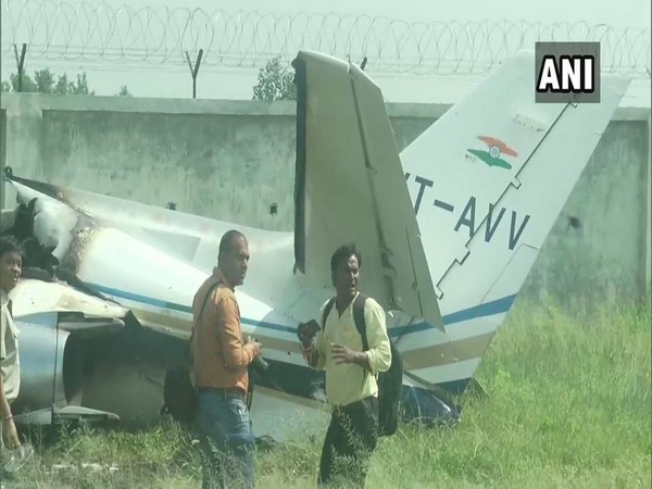 Visual from the crash in Dhanipur airstrip in Aligarh on Tuesday. Photo/ANI