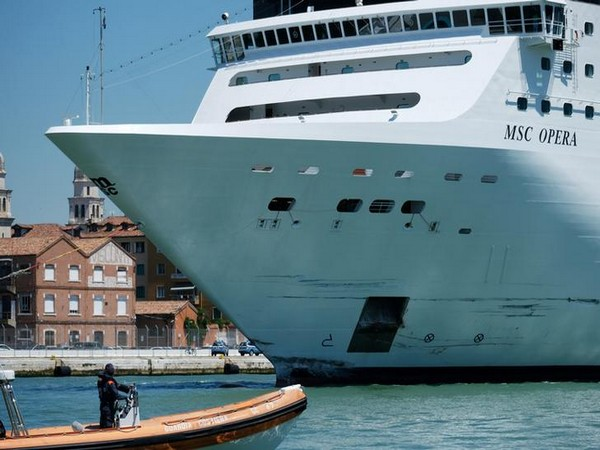 Cruise ship MSC Opera at Venice's Giudecca Canal after ramming into a tourist boat