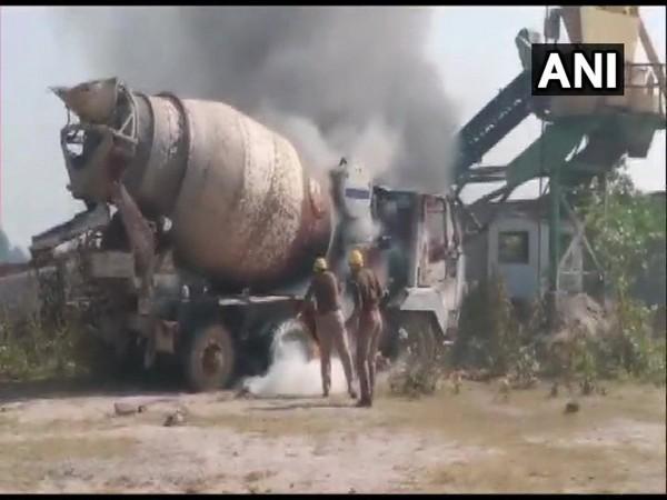 A vehicle of crusher plant was set ablaze on Sunday [Photo/ANI]
