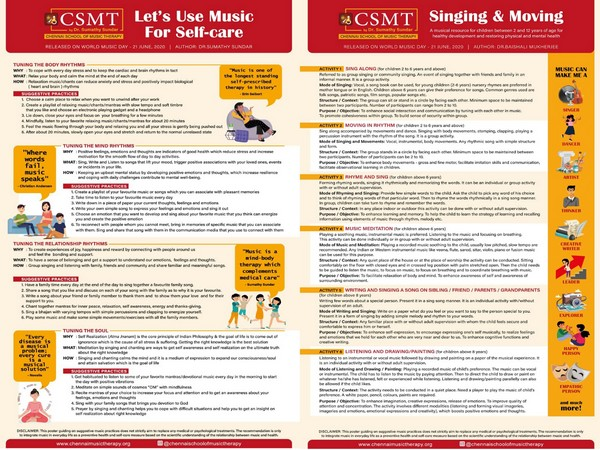 Two posters were released to create awareness about the use of Music as a tool for Self-care by Chennai School of Music Therapy