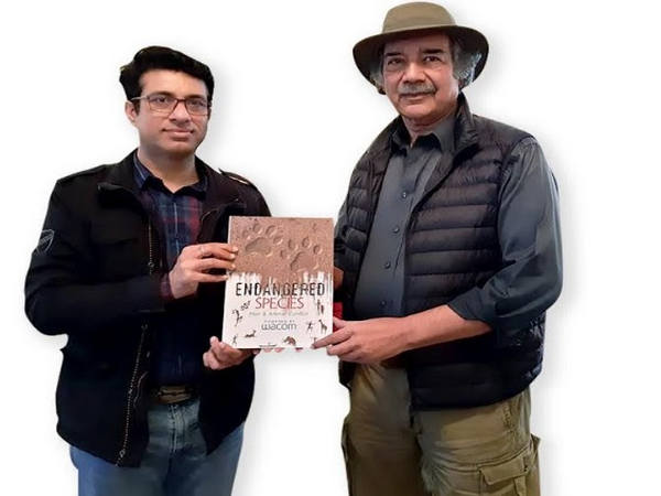 L to R: Rajiv Malik, Director, Wacom India along with Mike Pandey, Jury member of Endangered Species Competition unveiling Wacom Coffee Table book