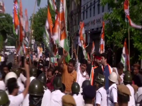 Visuals from the protest site in Kolkata.