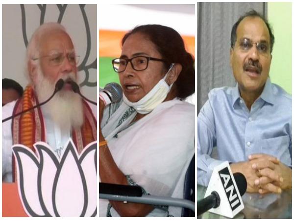 Prime Minister Narendra Modi, West Bengal Chief Minister Mamata Banerjee and Congress MP Adhir Ranjan Chowdhury (Photo/ANI)