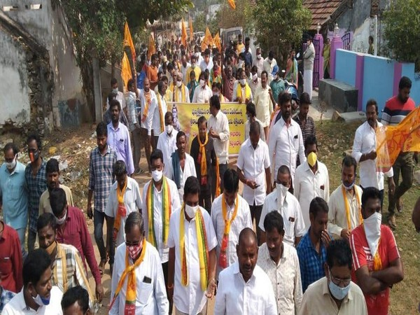 Visuals from TDP's protest rally at Ramateertham village (Photo/ANI)