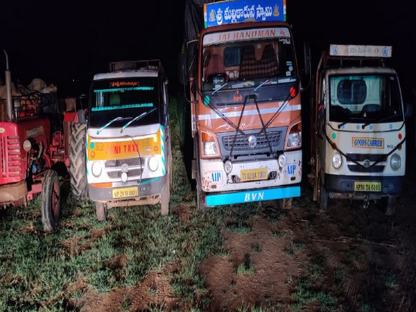 A haul of 100 quintals of rice was seized by Telangana Police on Wednesday. [Photo/ANI]