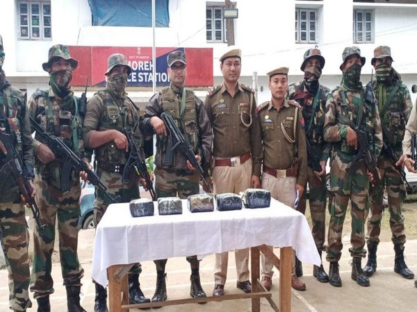 Troops of Assam Rifles seized contraband drugs weighing 5.2 kg valued at Rs 3.80 crore along the Indo-Myanmar border on Thursday. Photo/ANI