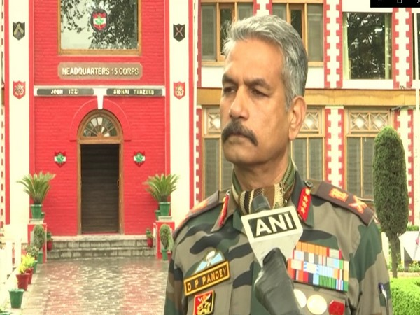 Chinar Corps Commander Lieutenant General DC Pandey speaking to ANI on Thursday.