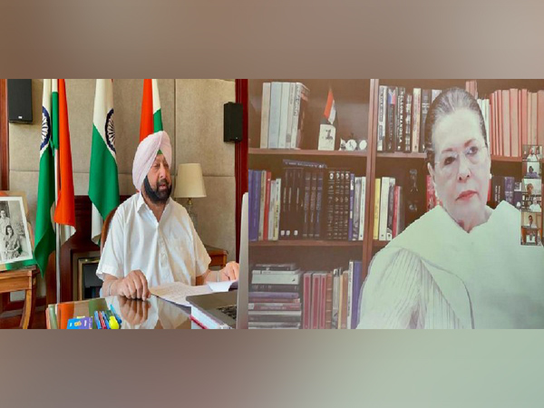Punjab Chief Minister Captain Amarinder Singh during a video conference with Congress interim President Sonia Gandhi