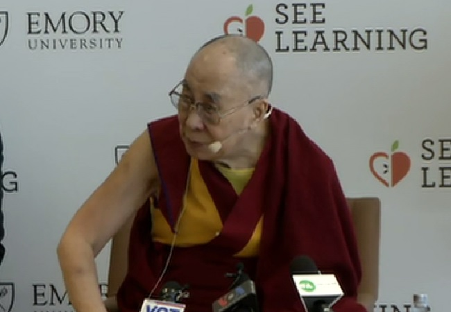 Tibetan Spiritual leader Dalai Lama speaking at a press conference in New Delhi on Thursday. Photo/ANI