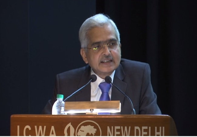 Reserve Bank of India Governor Shaktikanta Das speaking at a book launch in New Delhi on July 26.